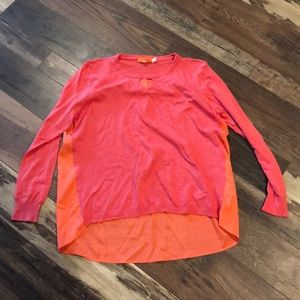 One A Hi-lo Coral Orange Keyhole Sweater Top XXL